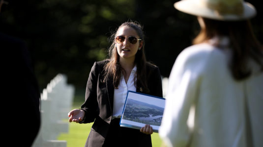 Juliet Michaelsen presents information at the American Cemetery in Luxembourg