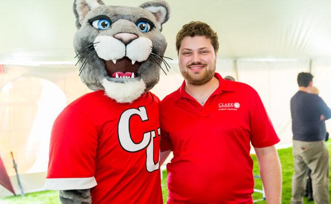Mascot with alumni member