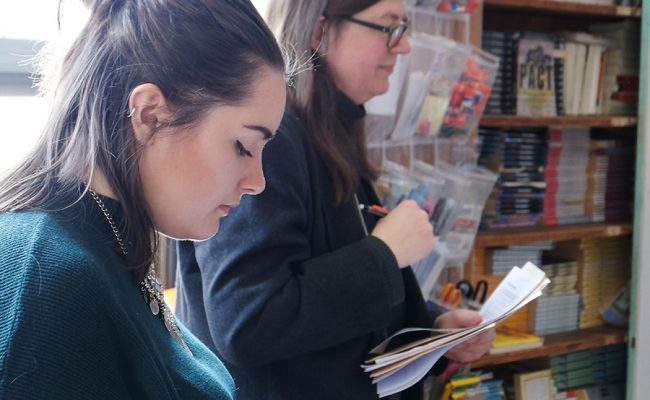 students in library setting