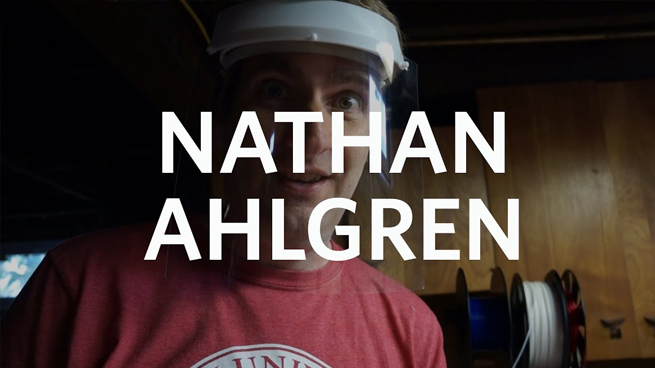 Professor Nathan Ahlgren Makes Face Shields