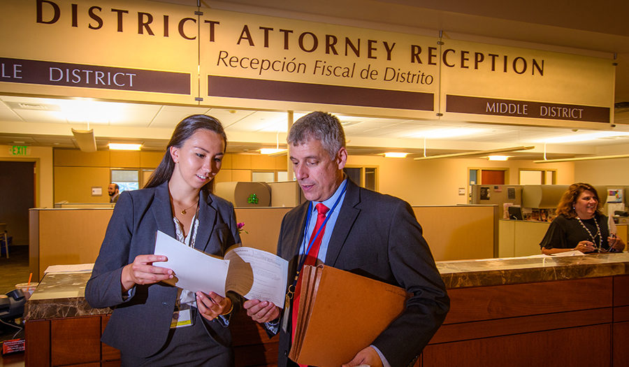 district attorney working with student