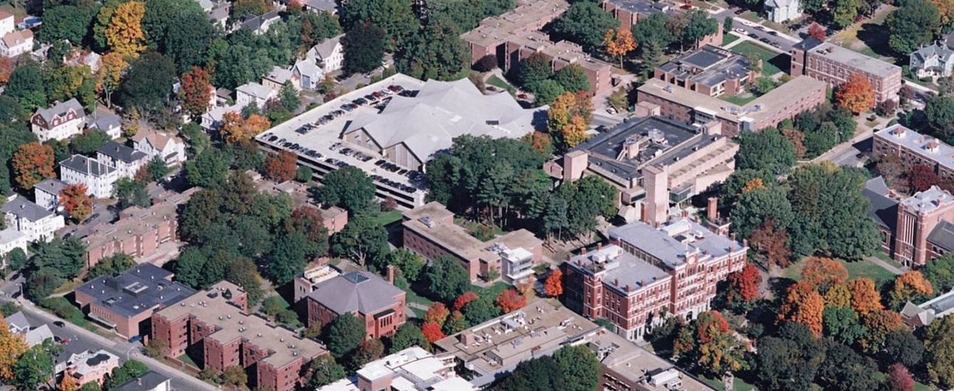 aerial shot of the campus cente