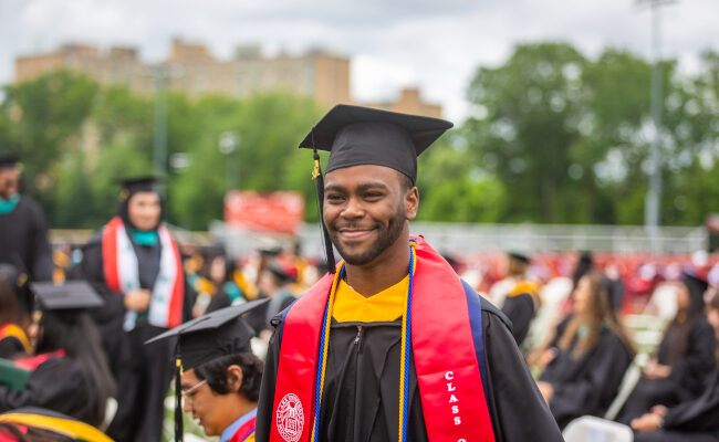 Graduate student in cap and gown