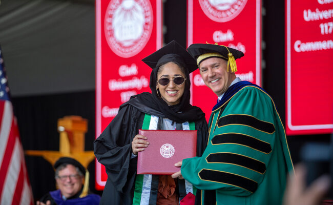 President Fithian with diploma