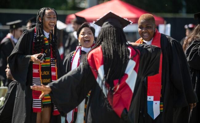 Clark University graduates celebrating