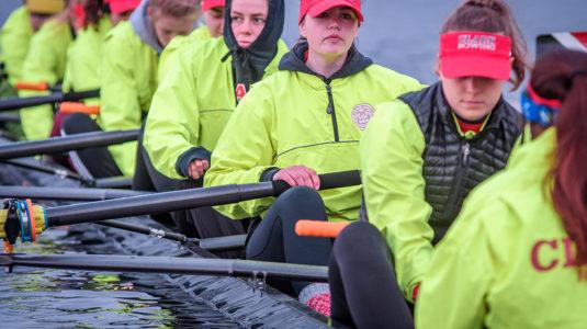 Clark crew team on Lake Quinsigamond