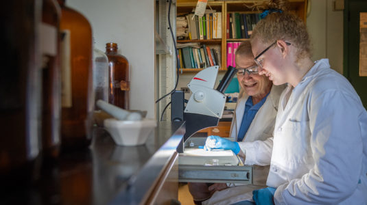 Katie Meehan '20 discusses her compound research with Professor Mark Turnbull.