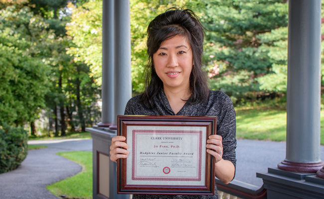Jie Park holding teaching award