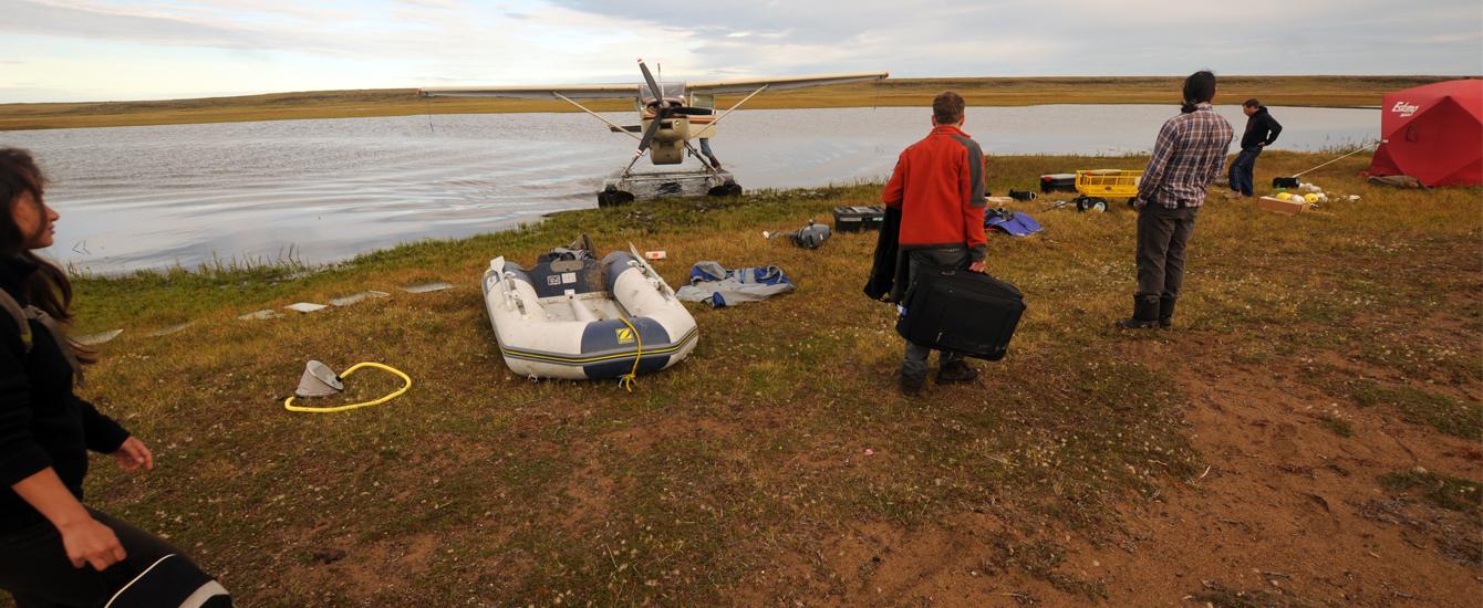 Researchers in the field in Alaska