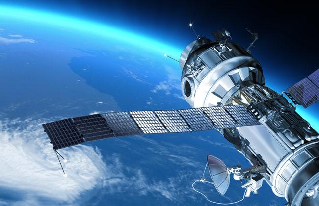 satelite in space orbiting around earth