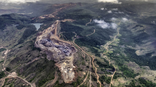 Aerial view of a bauxite mine exploitation and aluminum production in Ciudad Guayana, Venezuela