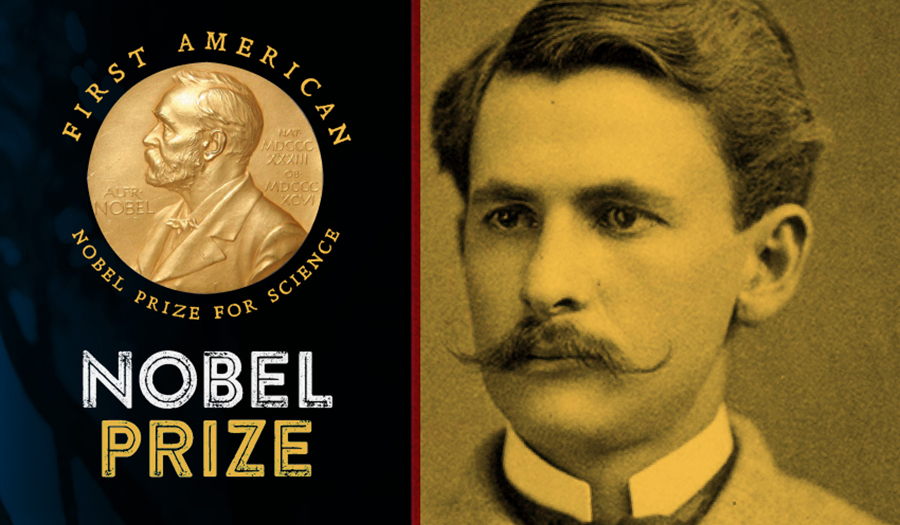 Photo of Albert Michelson with crest of Nobel Prize