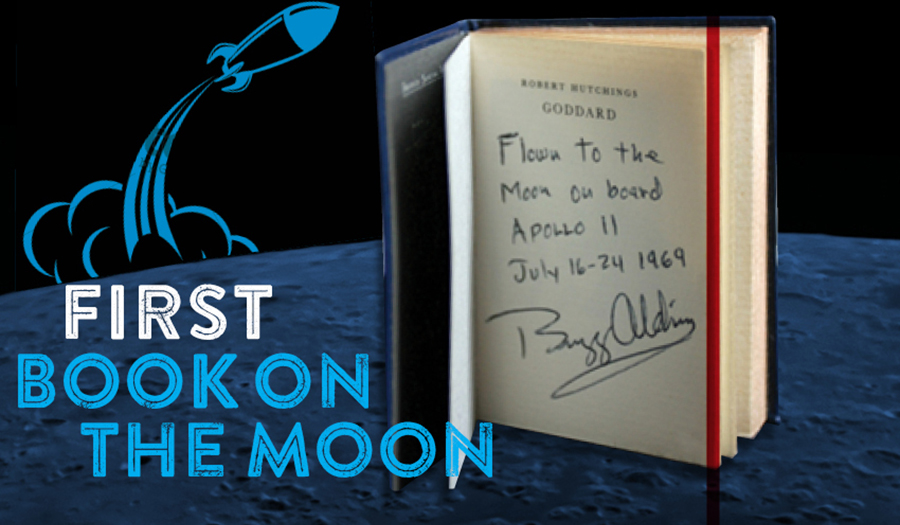 "Photo of book with words ""First Book on the Moon"""
