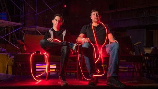 Kevin McGerigle, technical director, and Alex Rakovshik '19, lighting award winner, in Little Center