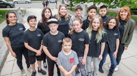 Young filmmakers on the Clark campus