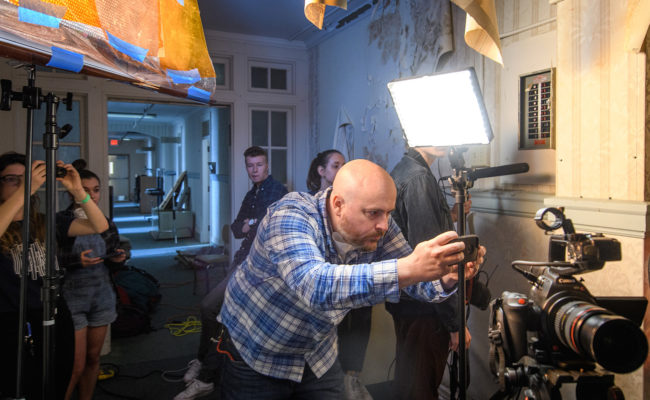 Faculty and students shooting a film