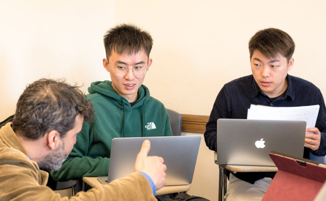 chinese international students in classroom