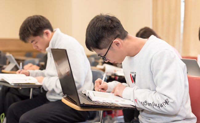 chinese international students in classroo