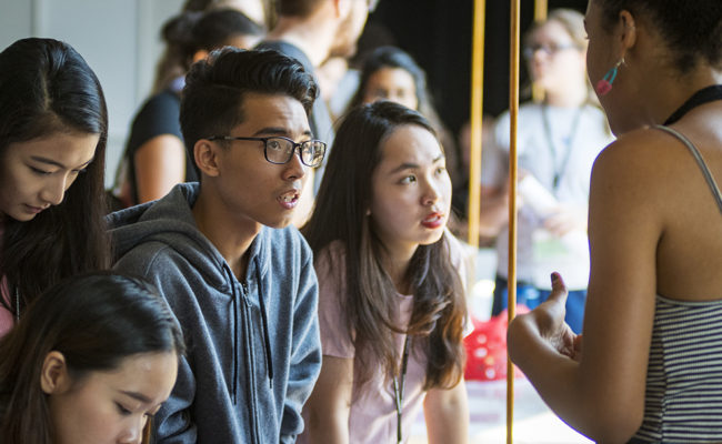 International students at a career fair