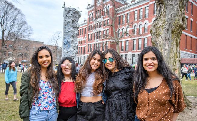 international students girls smili