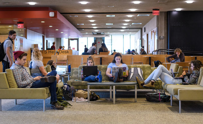 The Academic Commons in Goddard Library is a place where all students enjoy hanging out.