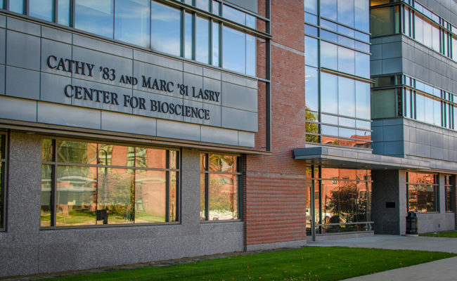 The state-of-the-art Cathy '83 and Marc '81 Lasry Center for Bioscience houses the Biology Department and is a center of scientific research on campus.
