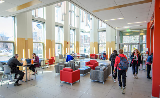 The lobby of the Shaich Alumni and Student Engagement Center (ASEC), home to many student services.