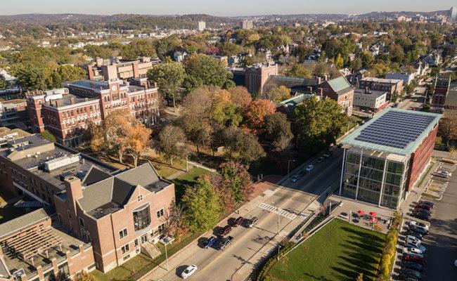 Aerial shot of the Clark campus