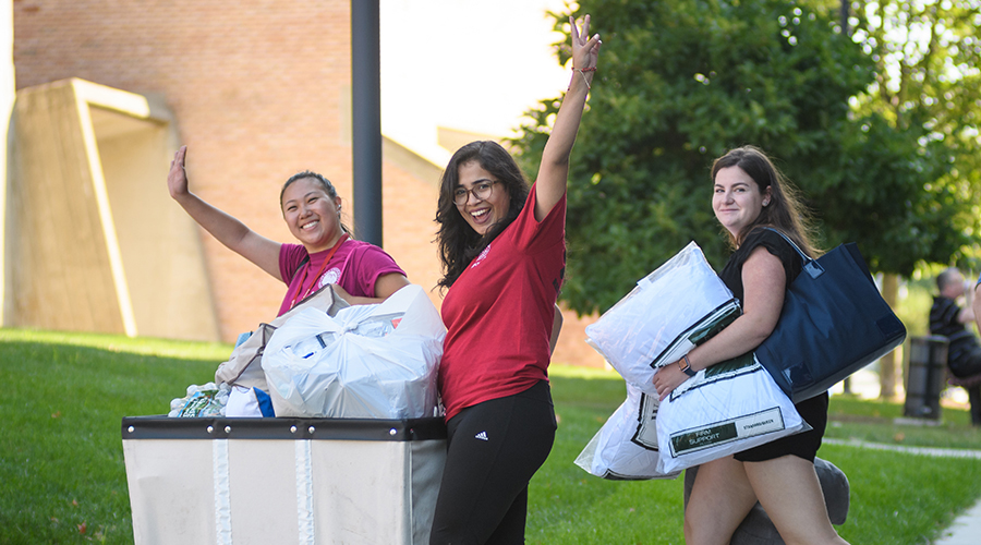 students moving in residential halls