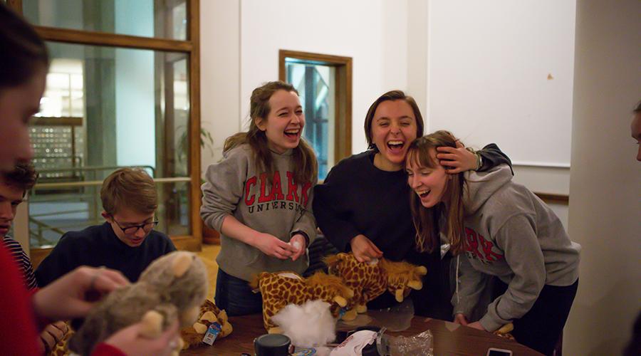 students making stuffed animals