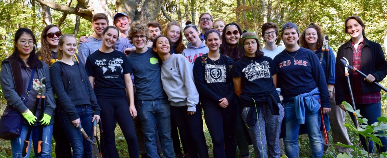 Clark students in forest