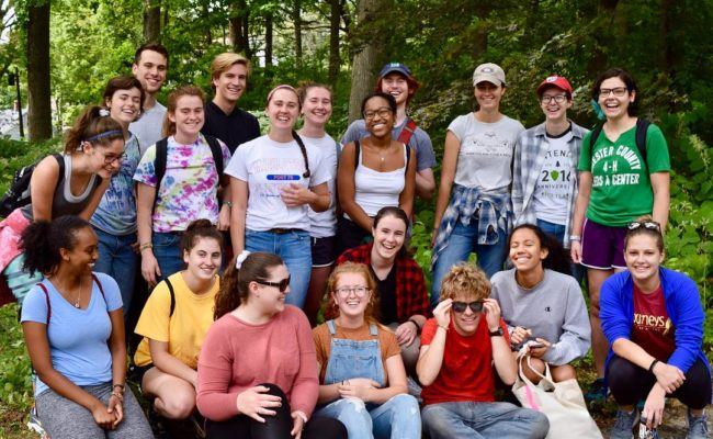 student group in forest
