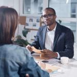 interviewer listening to client