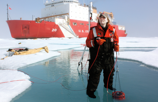 Student conducting field work in Antartica