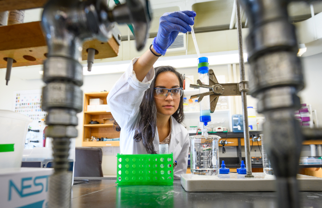 College student working in science lab