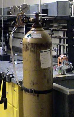gas cylinder in use