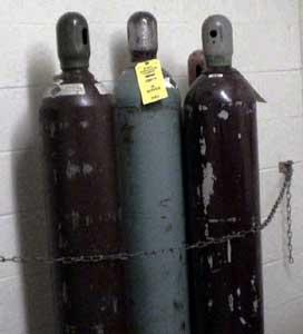 gas cylinder in storage