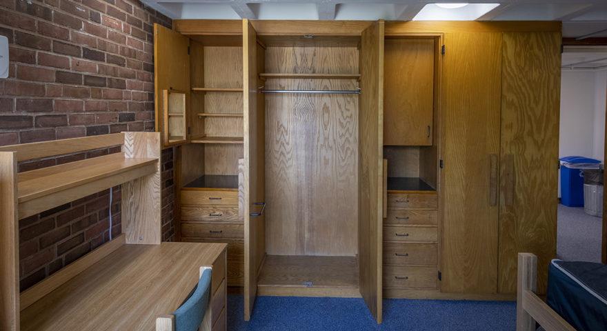 Dodd Hall dorm room with double closets
