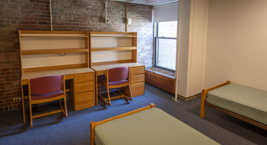Johnson-Sanford dorm room with double desks