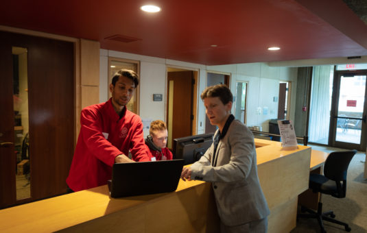 ITS team helping staff