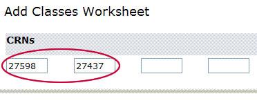 add classes worksheet