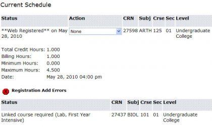 screen shot current schedule