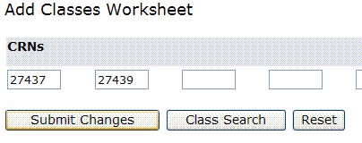 screen shot of add classes worksheet