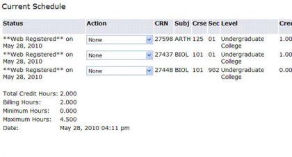 screen shot - current schedule