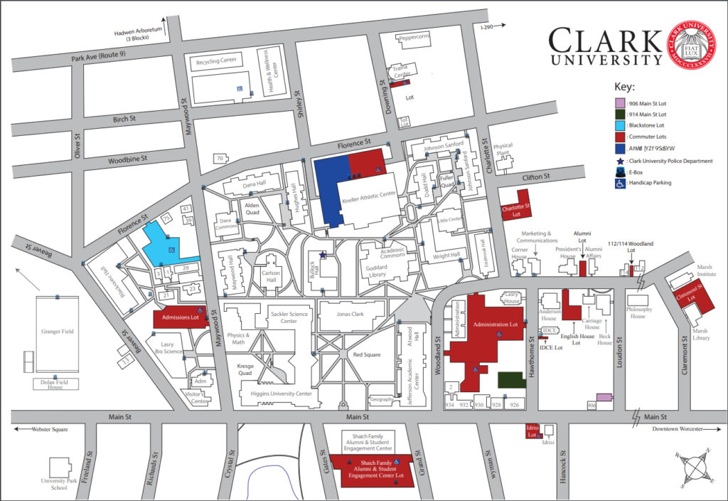 Campus map with blue boxes locations - downloadable pdf is below image