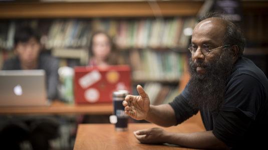 Jude Fernando speaking in class