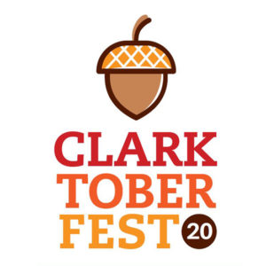 """Logo with acorn and the words """"Clarktoberfest 20"""""""