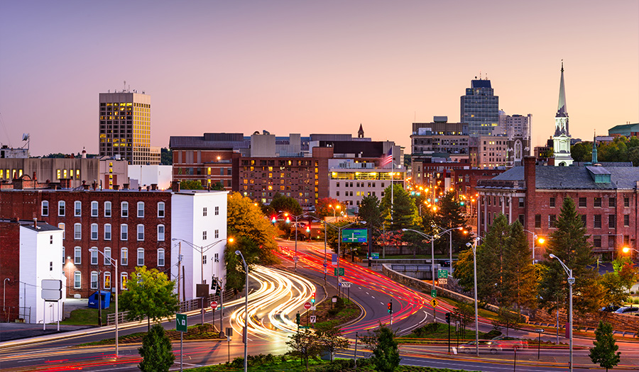 city of Worcester with dusk setting on city