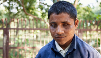Adolescent Indian boy with visual impairment
