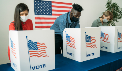 American citizens at voting ballot